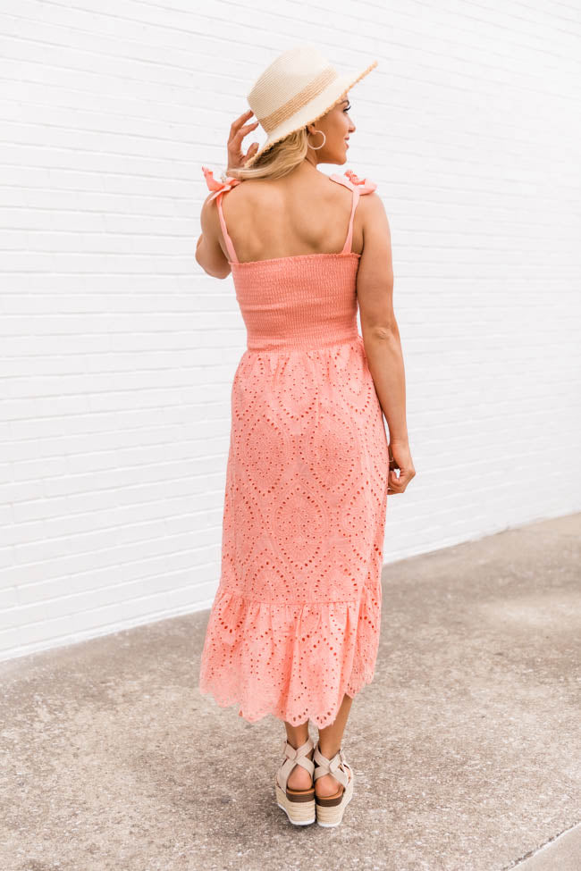 Promise In My Heart Peach Lace Midi Dress
