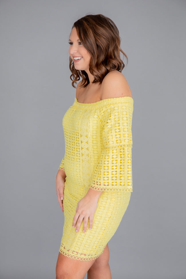 Gleaming With Glory Lace Yellow Dress