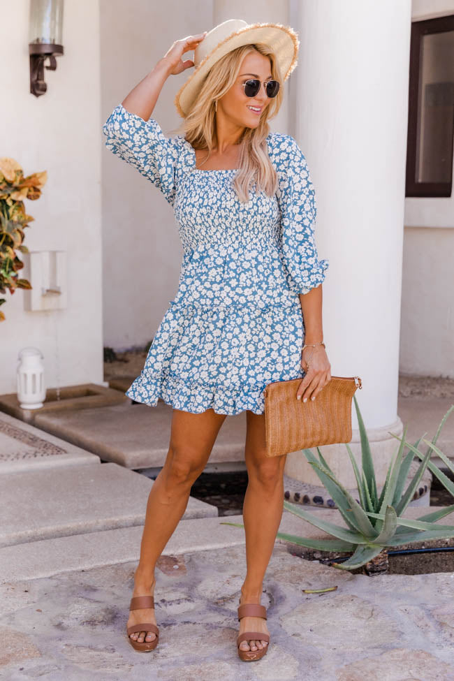 Running Through Gardens Floral Blue Dress
