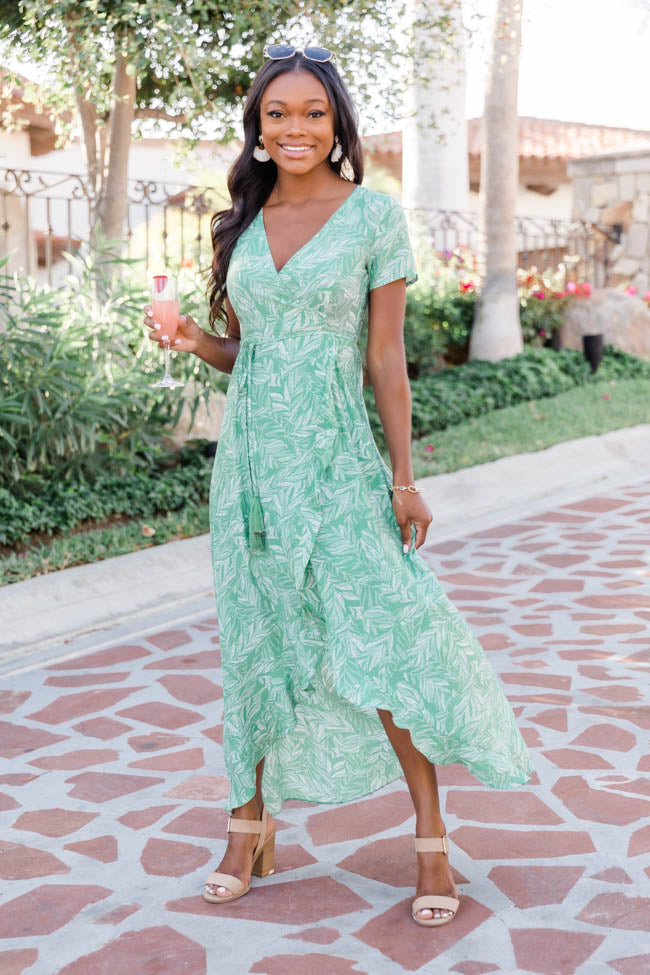 Remember The Night Leaf Print Wrap Green Dress