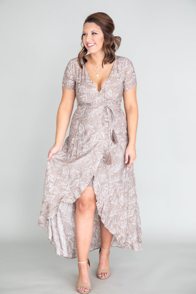 Remember The Night Leaf Print Wrap Taupe Dress