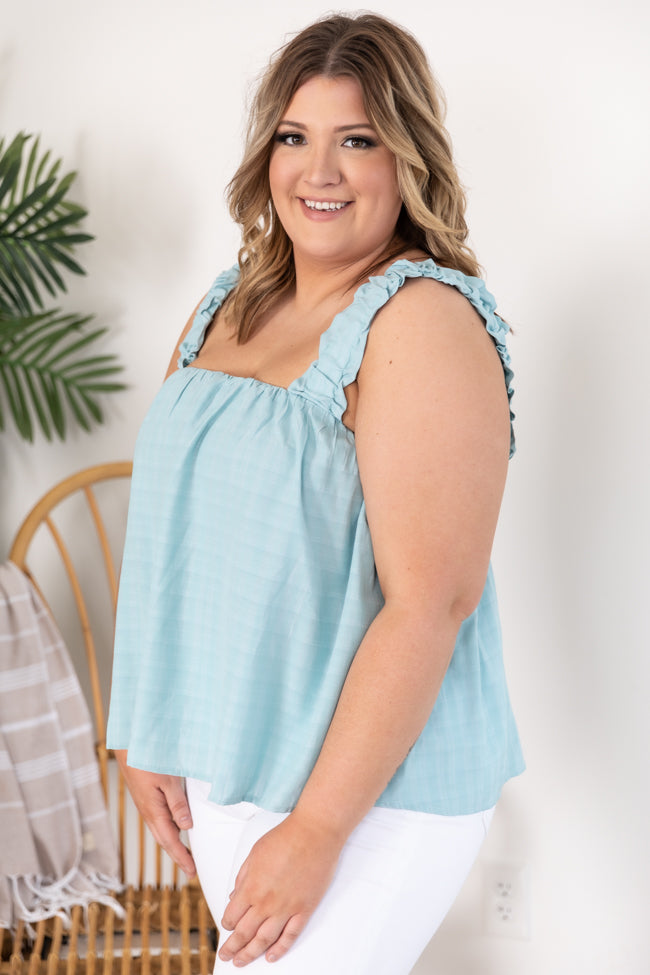 Nothings Impossible Ruffle Straps Blue Tank