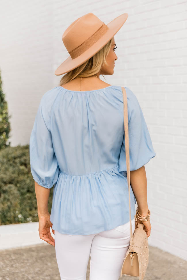 Say You Won't Let Go Babydoll Blue Blouse