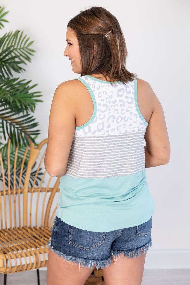 Brave Heart Animal Print Sage/Grey Tank