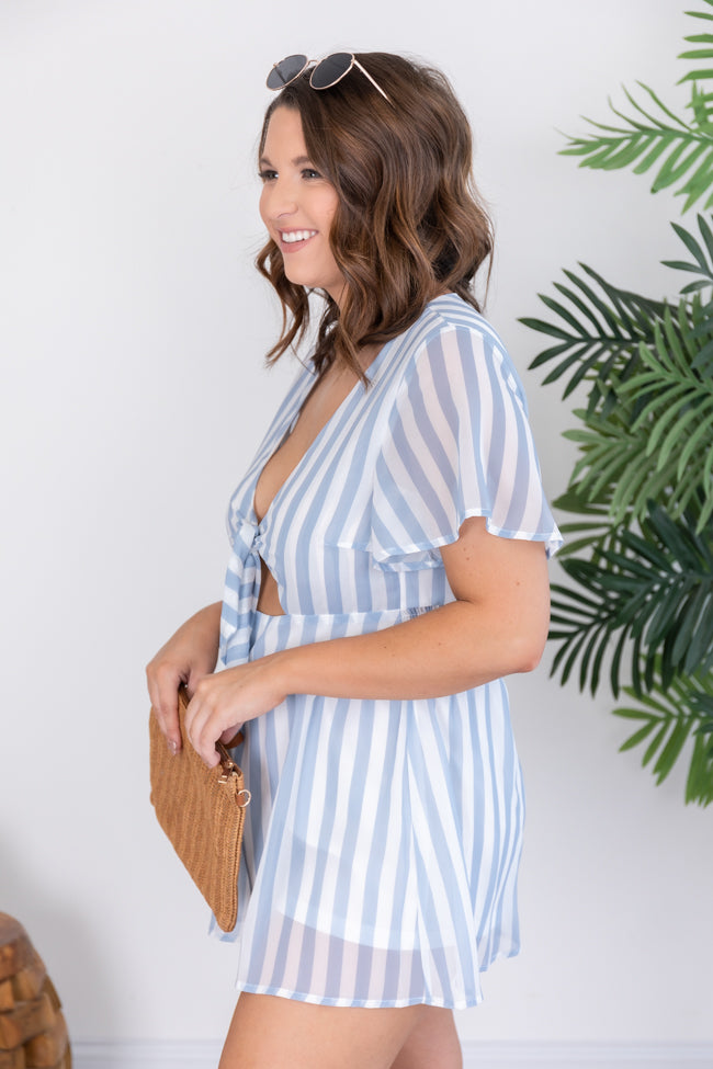 Love For A Lifetime Blue Striped Romper