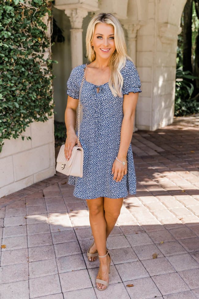 Cherish This Time Floral Navy Dress