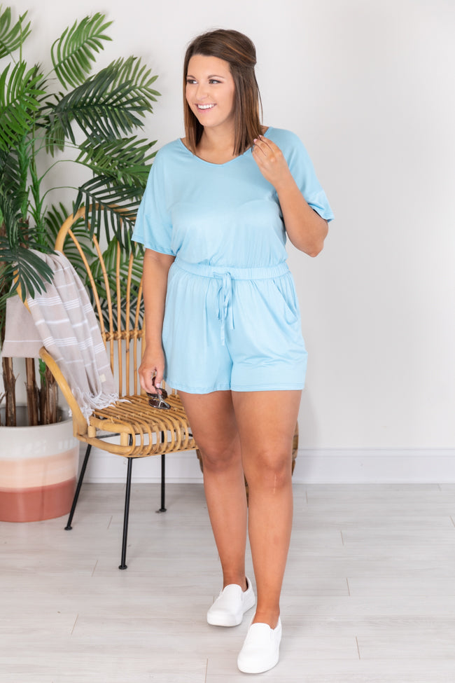 Gone With The Wind V-Neck Blue Romper