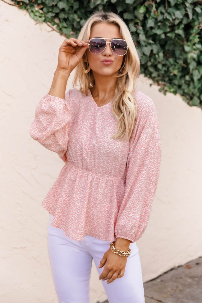 Bright Smile Animal Print Pink Blouse