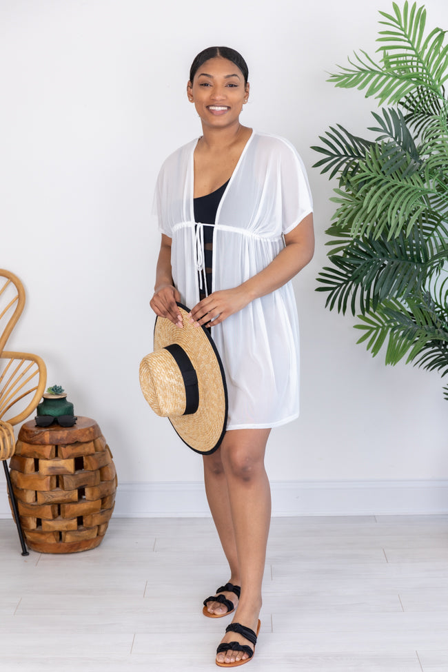 Beachside Babe Mesh White Cover Up