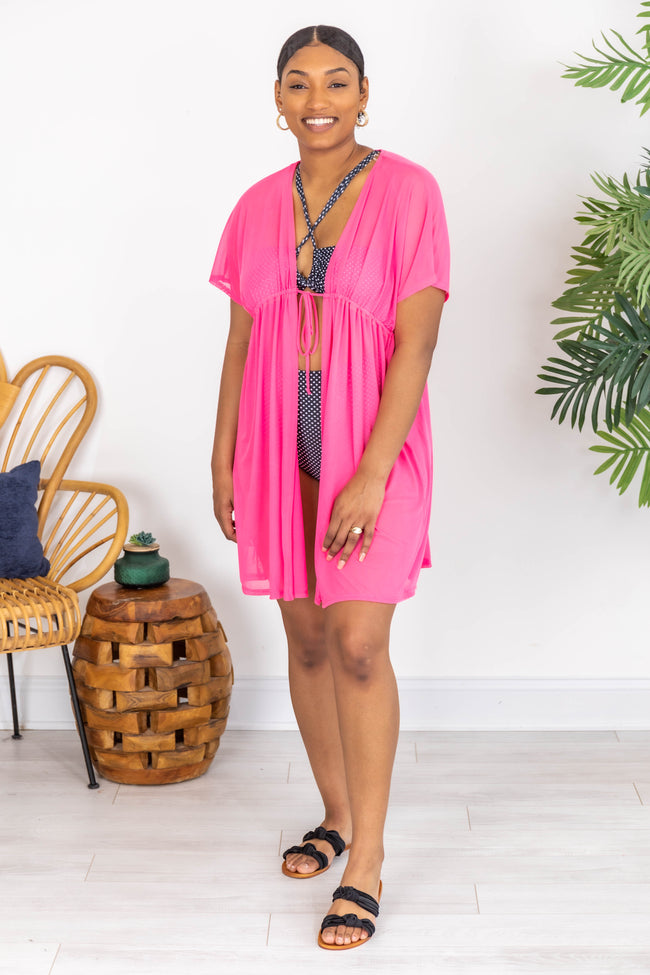 Beachside Babe Mesh Pink Cover Up