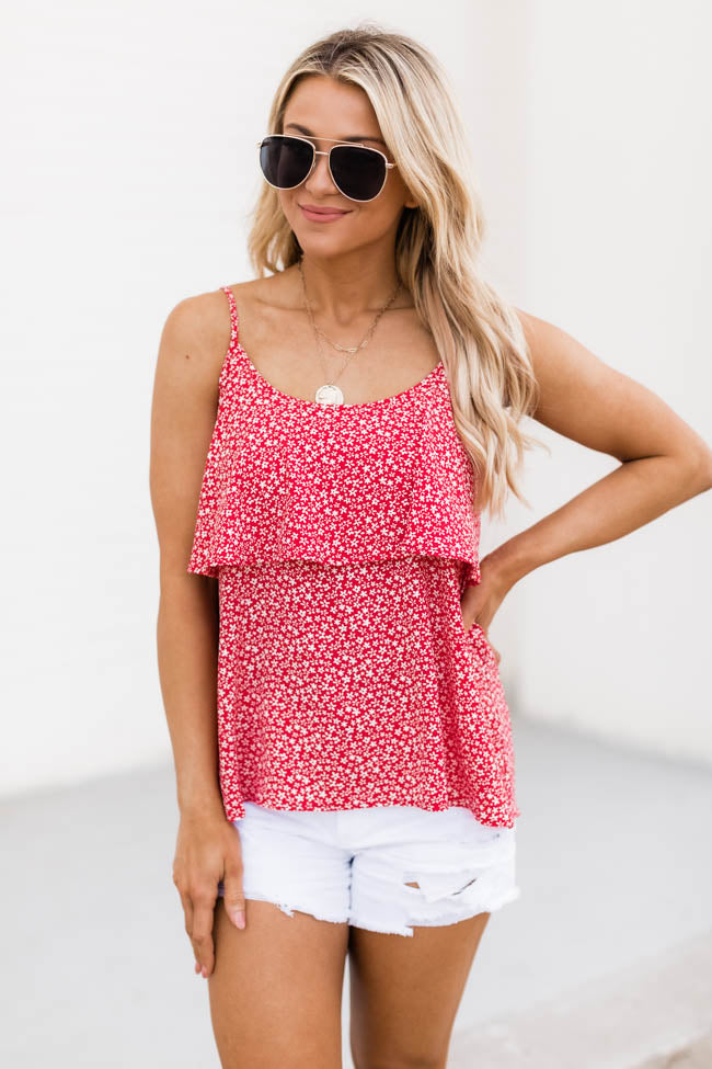 Riverside Daisies Floral Layered Red Tank