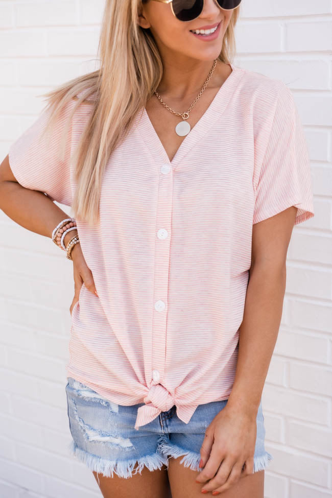 Resilient Love Striped Coral Blouse
