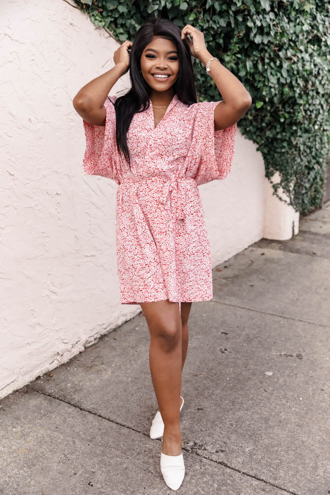 Dressed For The Weekend Red Floral Shirt Dress FINAL SALE