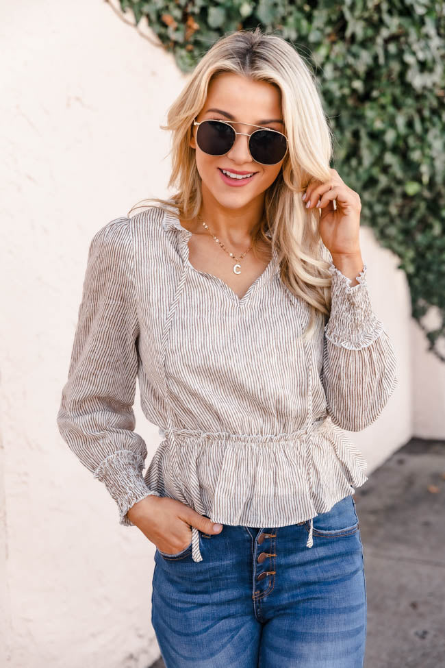 Last Chance Taupe Striped Blouse FINAL SALE