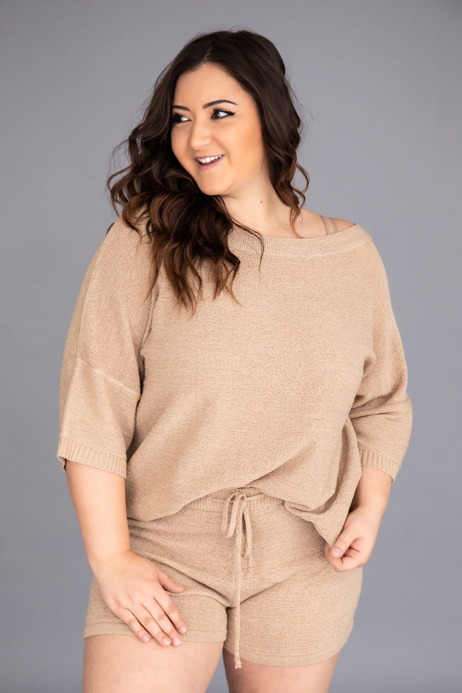 Lost In Direction Taupe Sweater Blouse