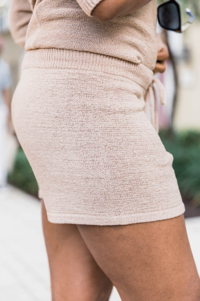 Lost In Direction Taupe Sweater Shorts