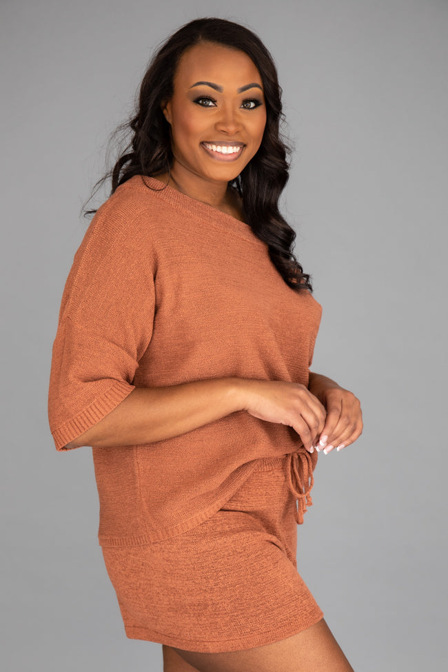 Lost In Direction Terracotta Sweater Blouse