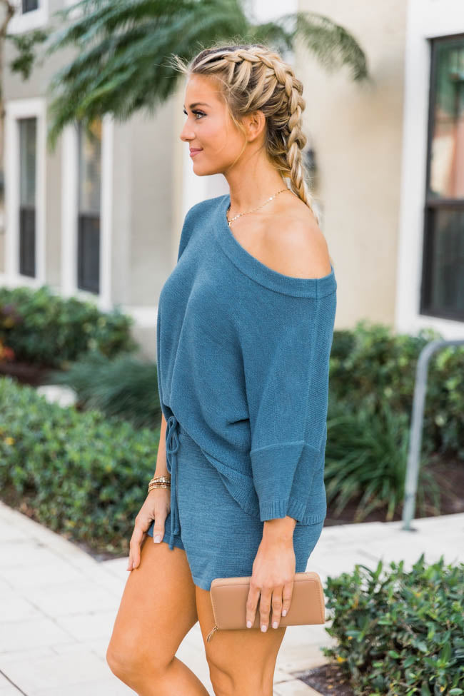 Lost In Direction Blue Sweater Blouse