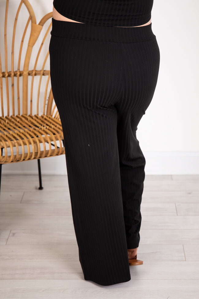 Saving Grace Ribbed Flare Black Pants