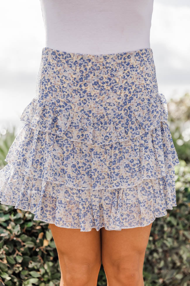 Delightful In Daisies Smocked Waist Floral Blue Skirt