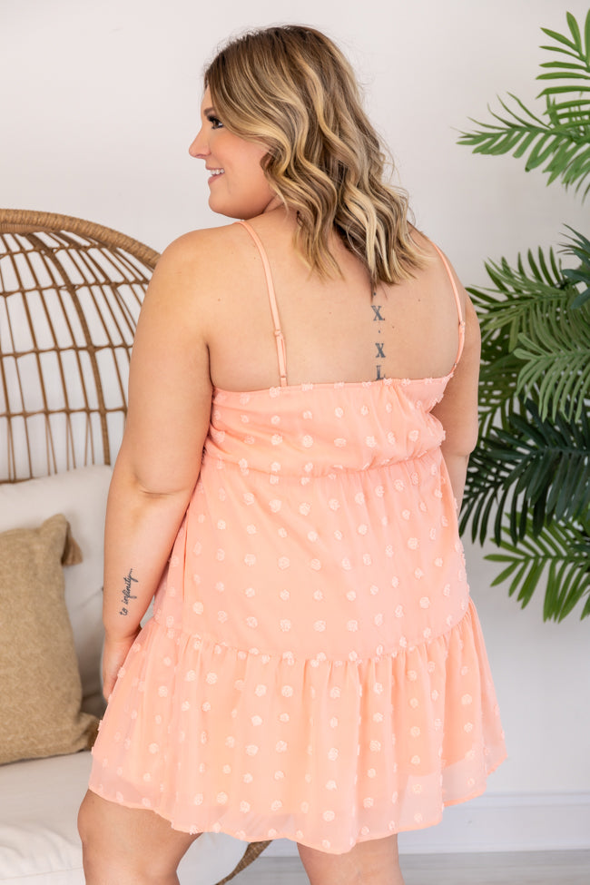 Almost Maybe Swiss Dot Babydoll Peach Dress