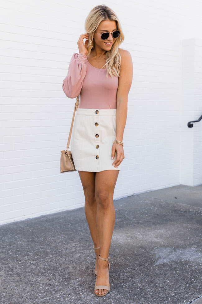 Unwritten Love Song Button Up Cream Skirt