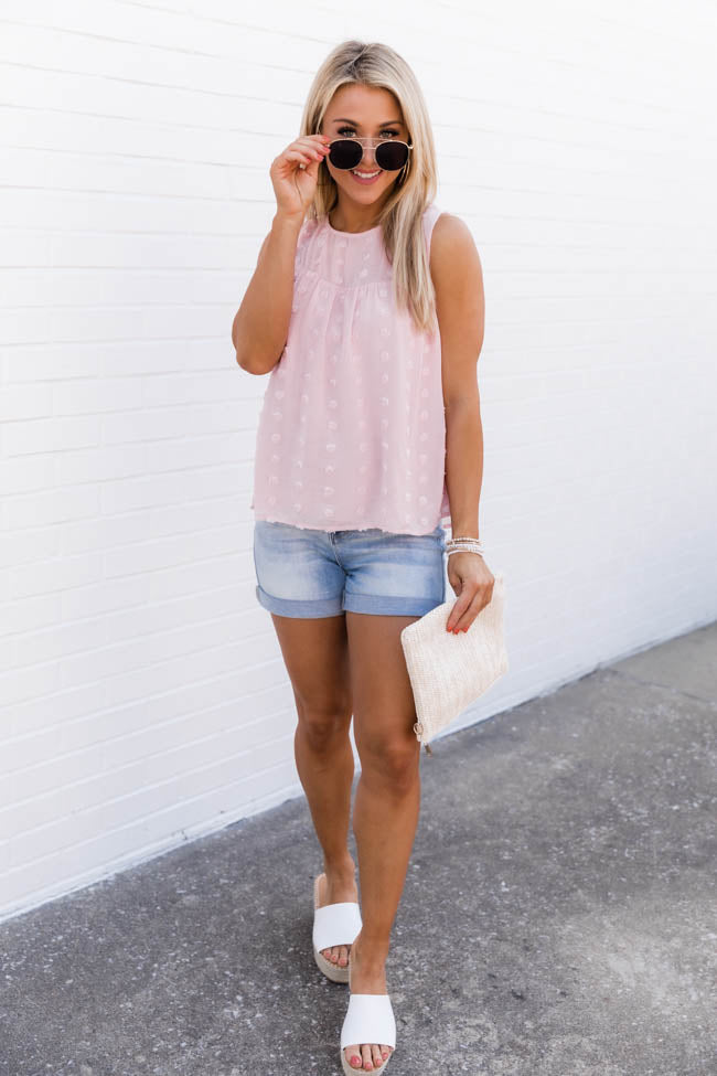 More than a Coincidence Swiss Dot Blush Tank