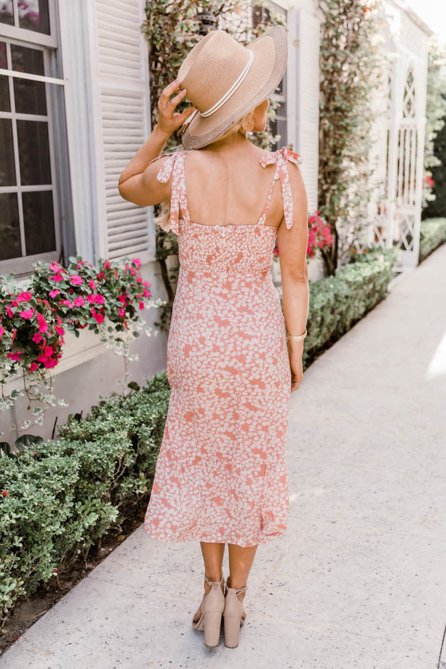Don't Complicate It Floral Midi Dress Orange