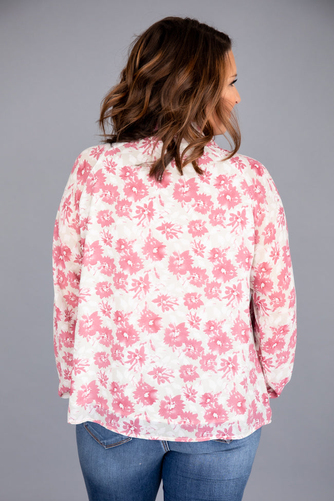 Share Your Advice Pink Floral Blouse