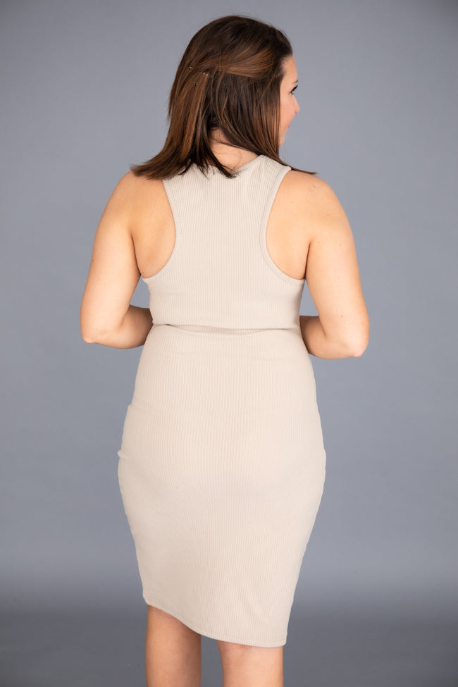 Magical at Midnight Ribbed Midi Taupe Dress