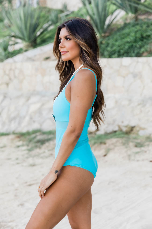 Ocean Oasis Mesh One Piece Blue Swimsuit