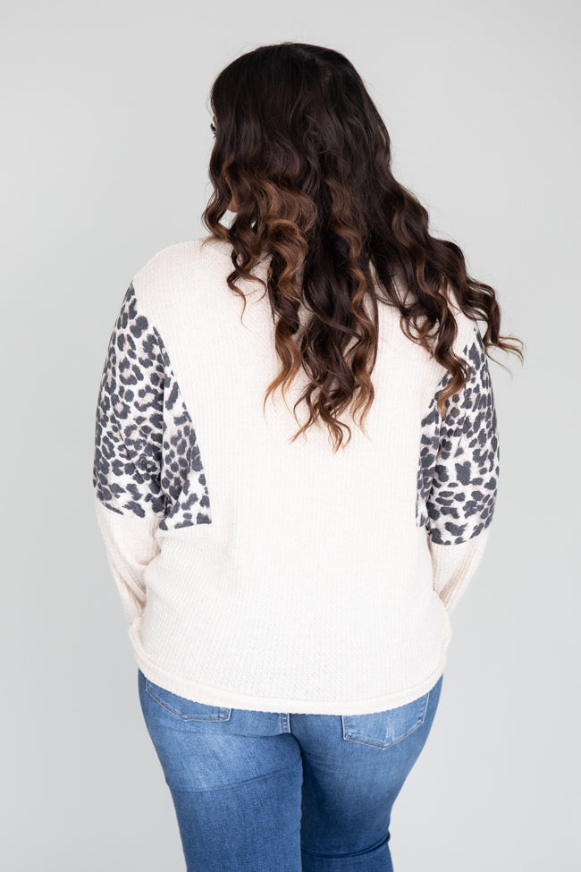 Continue A Dream Animal Print Oatmeal Blouse