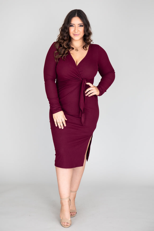 Daring Heart Ribbed Midi Burgundy Dress