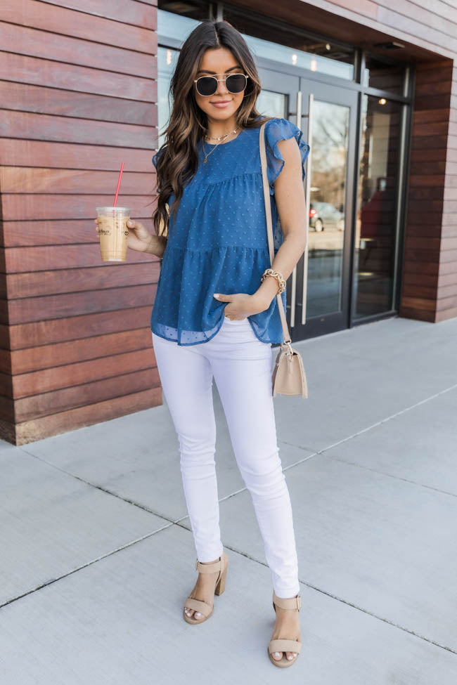 Cute As Can Be Navy Blouse