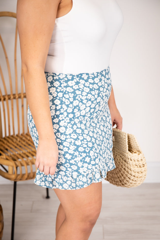 Constant Love Song Floral Blue Skirt