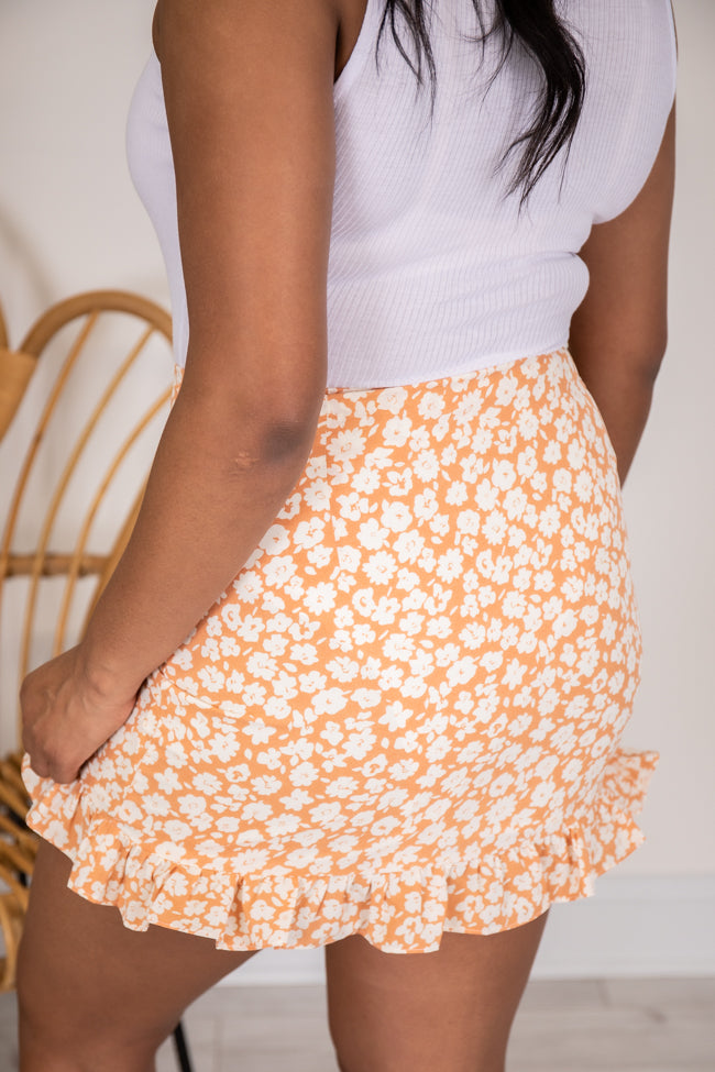 Constant Love Song Floral Orange Skirt