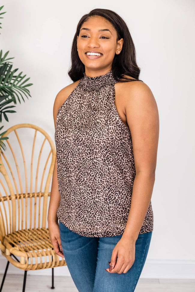 Tomorrow's Promise Animal Print Brown Tank