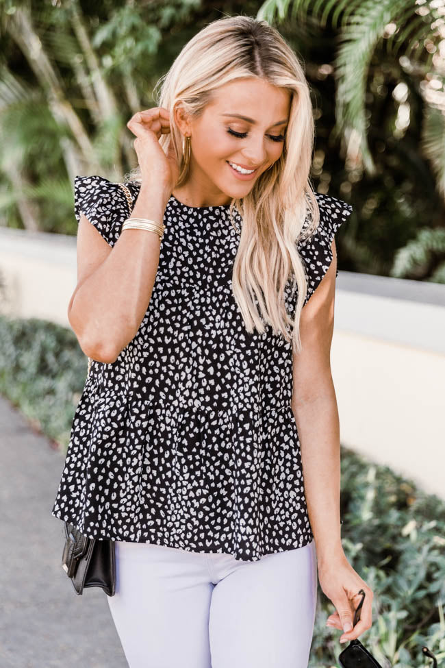Unique To This Love Black Animal Print Blouse