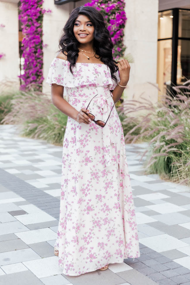 One Dance Floral Maxi Ivory Dress