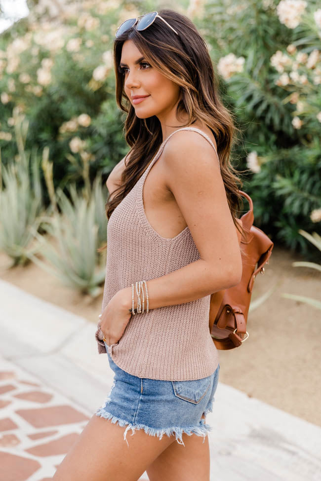 Imagine This Sweater Taupe Tank