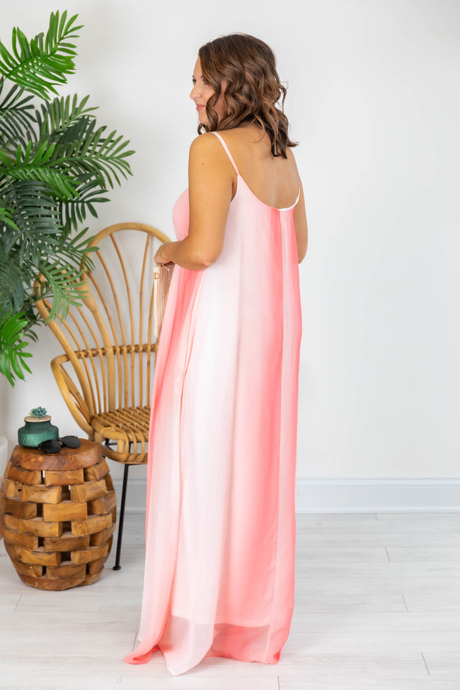 Oceans Of Love Coral Ombre Maxi Dress