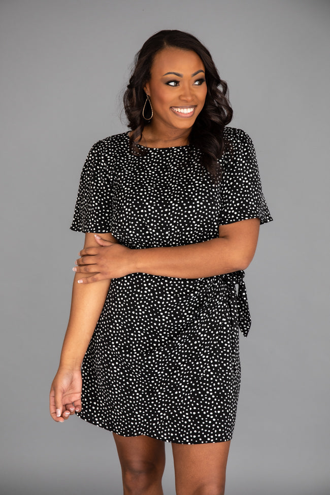 Stylish And Chic Spotted Dress Black