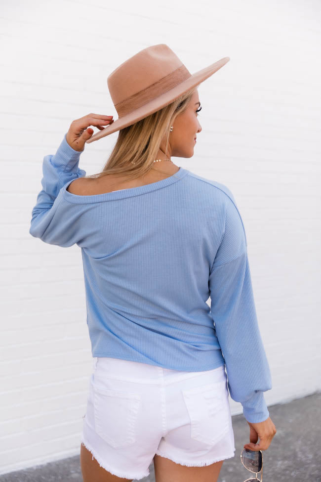 Give You My Attention Ribbed Knit Blue Blouse