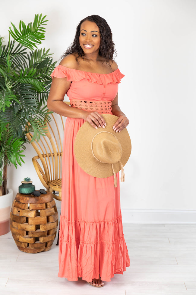 When You Look At Me Coral Maxi Dress