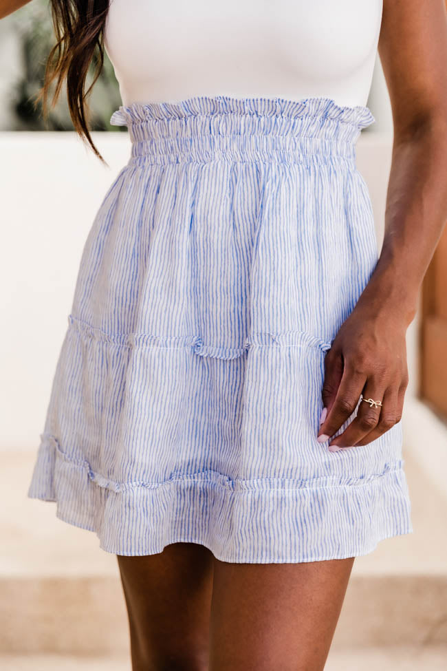 Dance With Me Blue Striped Skirt