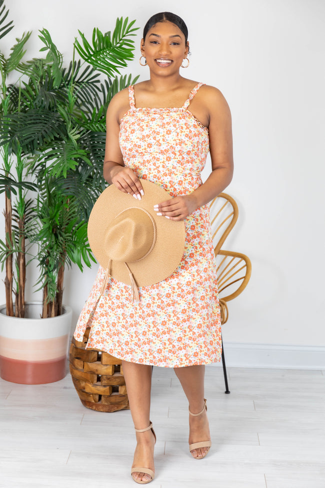 Casual Coincidence Floral Midi Coral Dress