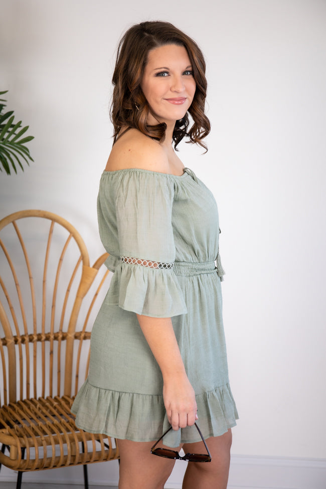 Stolen Dreams Off The Shoulder Sage Dress FINAL SALE