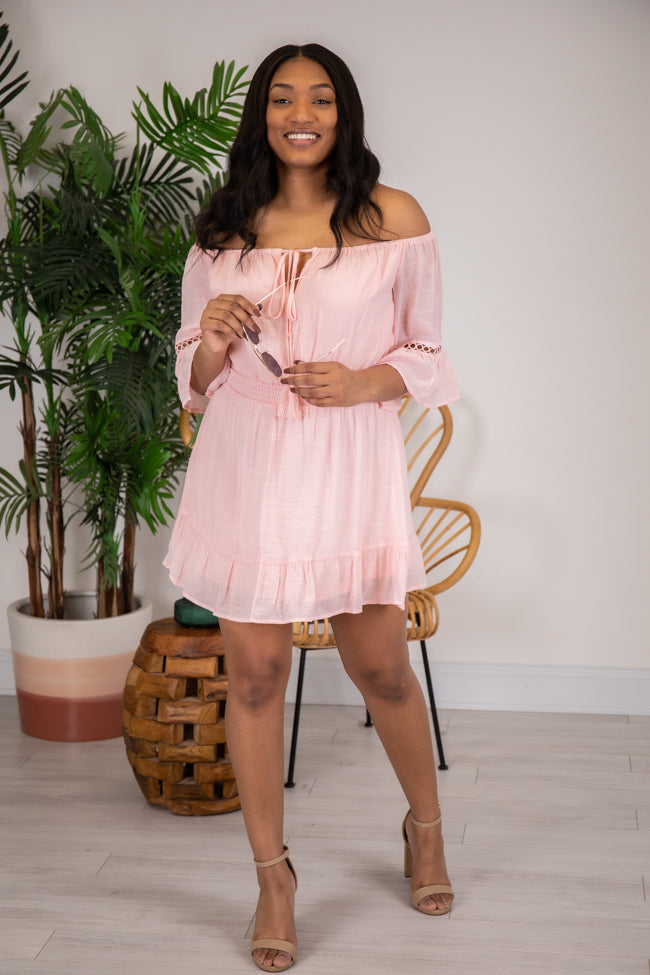 Stolen Dreams Off The Shoulder Pink Dress