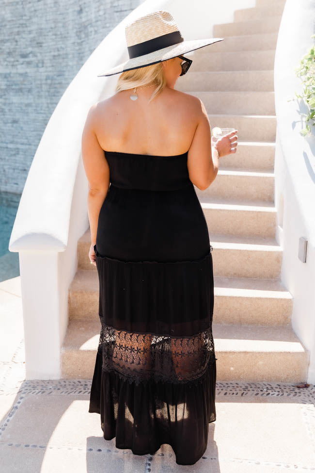 Envision A Getaway Lace Maxi Black Dress