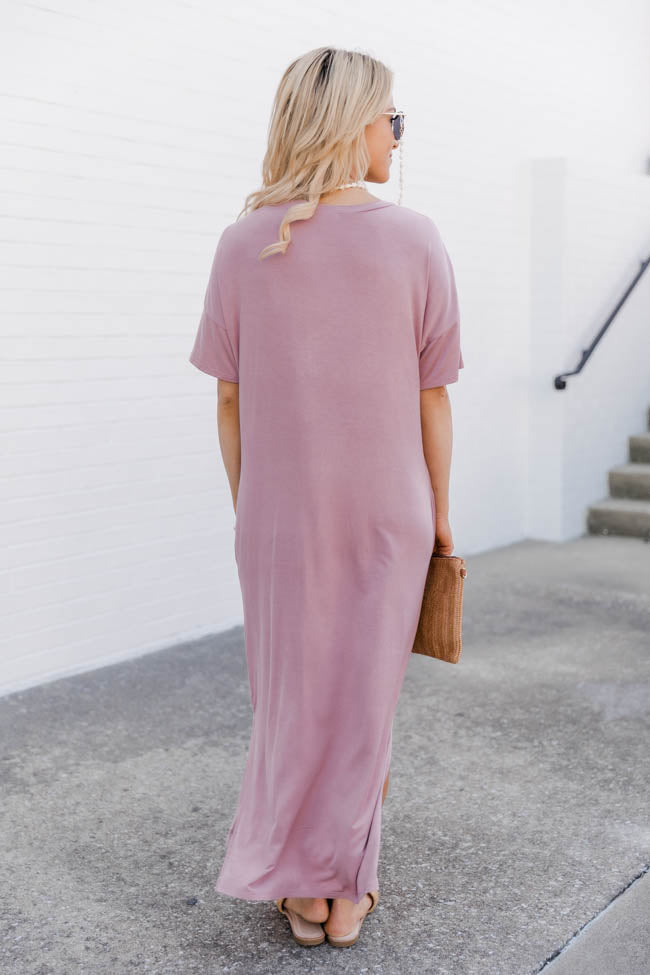 Simple Melody Midi Mauve T-Shirt Dress